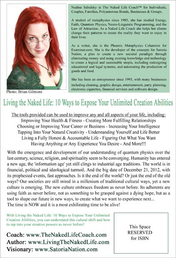 Living The Naked Life: 10 Ways to Expose Your Unlimited Creation Abilities - Back Cover